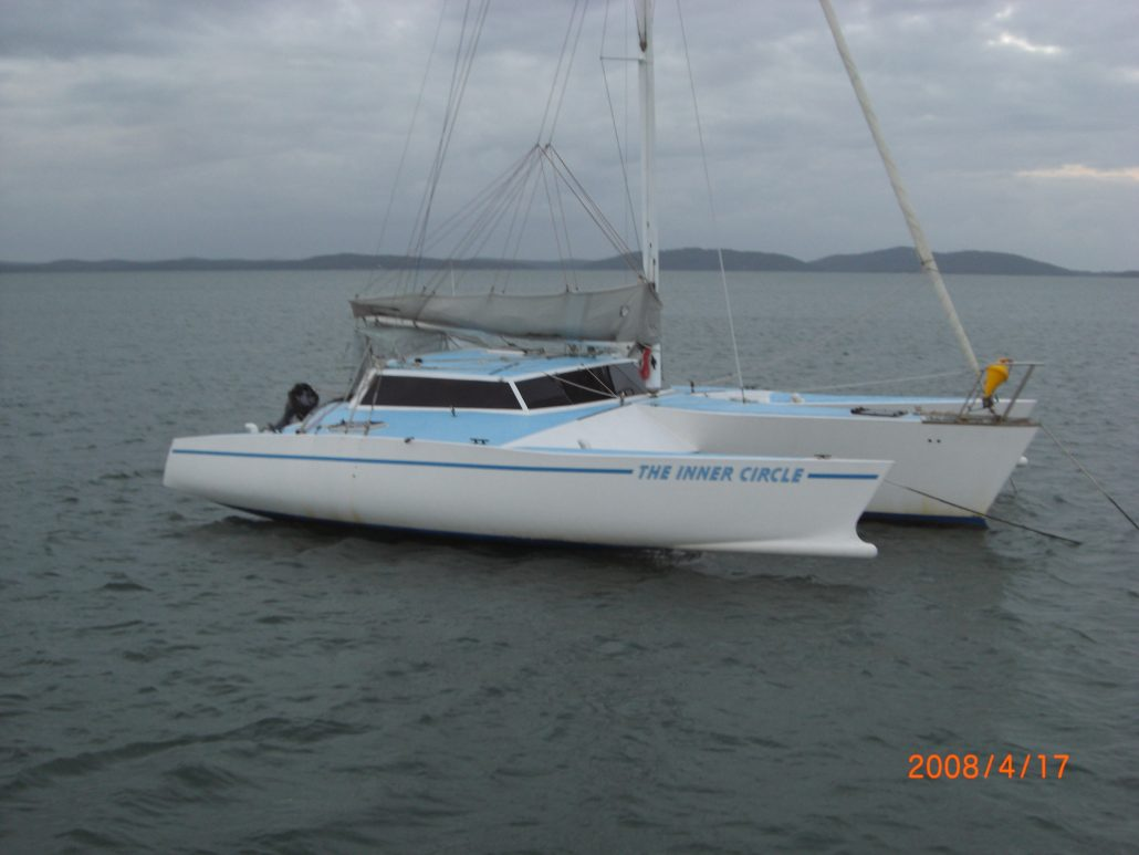 Crowther Trimaran Inner Circle, Moored in Port Stephens NSW, Waiting for her delivery skipper