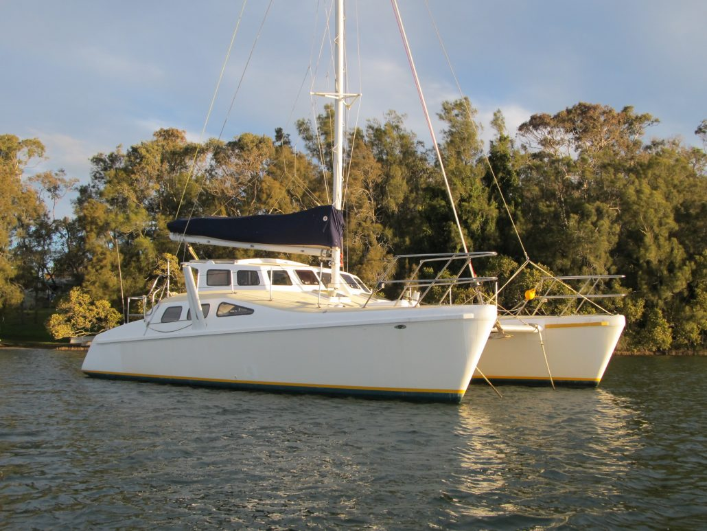Crowther Catamaran Windspeed Halcyon Daze awaiting catamaran delivery skipper. NSW Australia