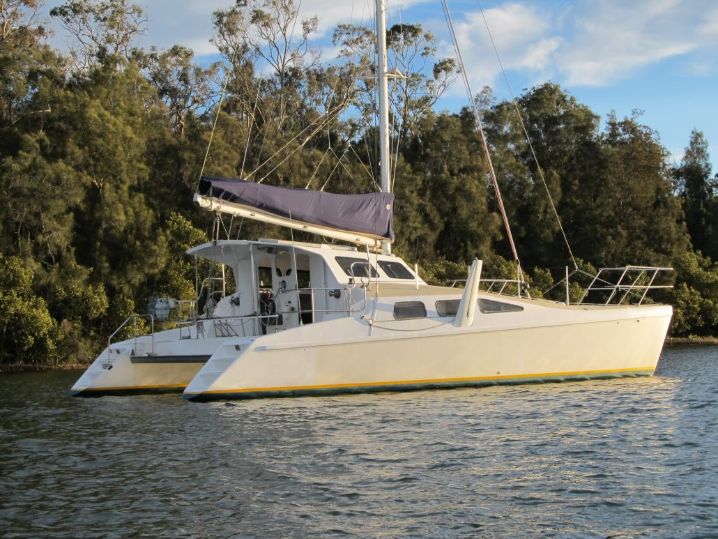 Crowther Catamaran Windspeed Halcyon Daze awaiting catamaran delivery in NSW Australia
