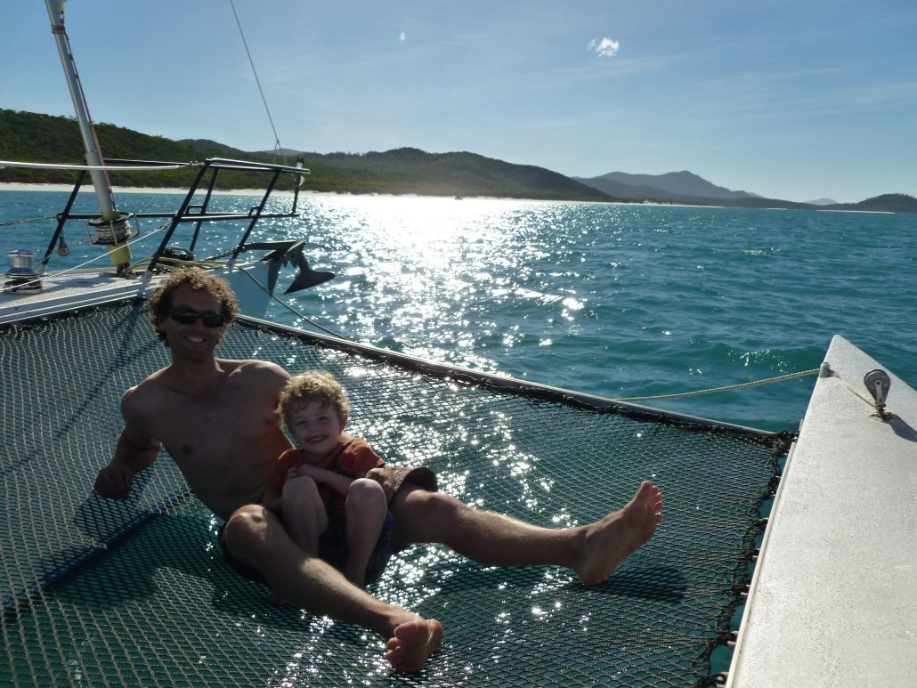 Multihull sailing David Mitchell son on his Trimaran after skippering the delivery to the whitsundays