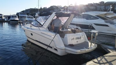 Jeaneau Leader 8 Power boat delivery from The Spit, Mosman to Solders Point Port Stephens NSW by delivery Skipper, David Mitchell