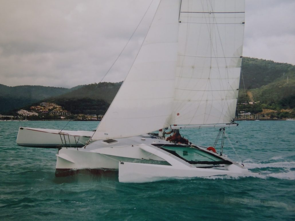 Crowther Twiggy Trimaran Spirit, Multihull delivered to Airlie Beach race week. Skipper - David Mitchell