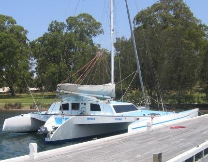 Crowther Impala Trimaran Inner Circle. Owned by David Mitchell. Boat skipper in Rathmines NSW Australia