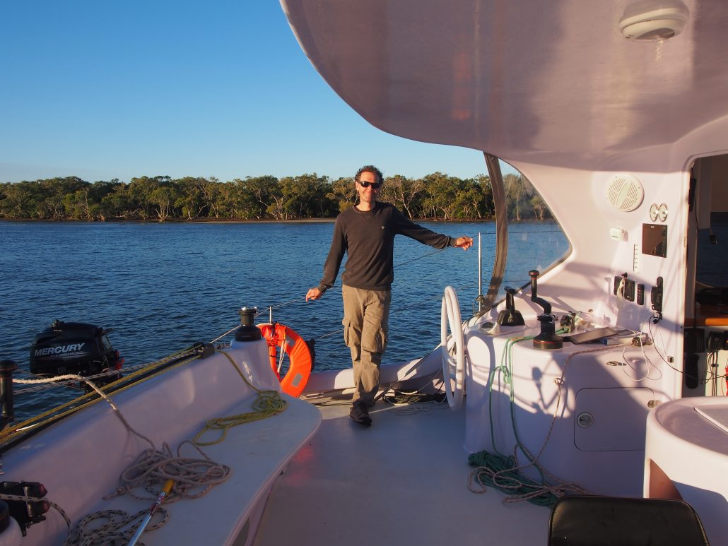 Crew on Deck - Big Wave Rider Chamberlin Catamaran - Multihull delivery skipper - David Mitchell - Australia